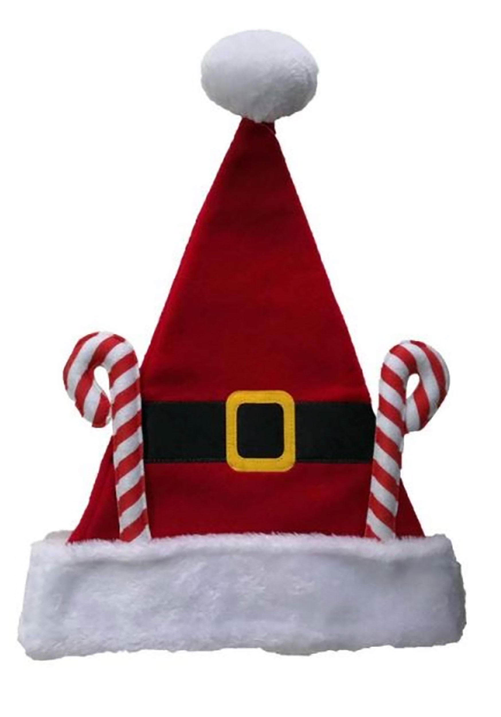 Fleece Candy Canes Santa Hat