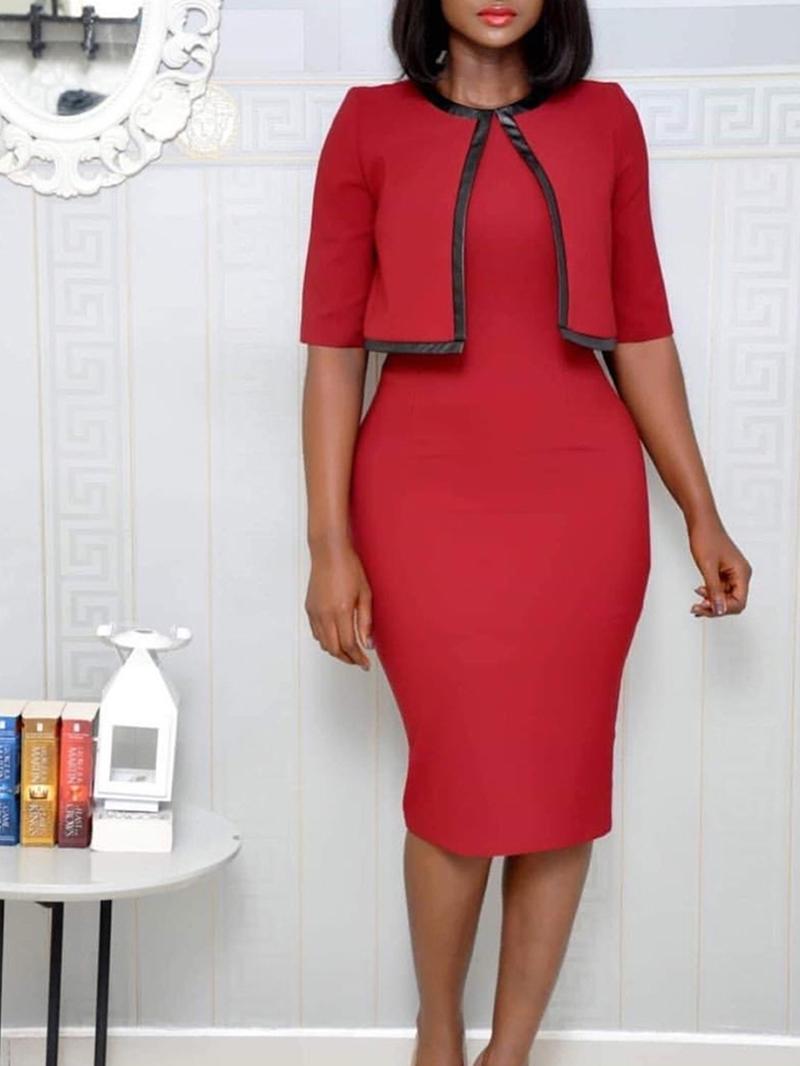 Ericdress Half Sleeve Knee-Length Round Neck Bodycon Dress