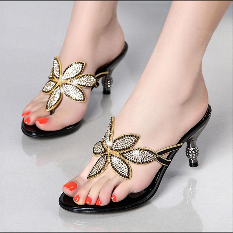 Ericdress Floal Rhinestone Thong Slip-On Women's Mules Shoes