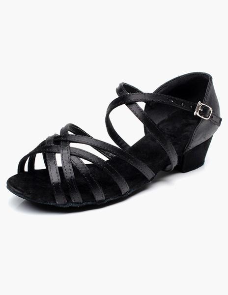 Milanoo Latin Dance Shoes Black Ballroom Shoes Black Open Toe Criss Cross Dancing Shoes For Kids