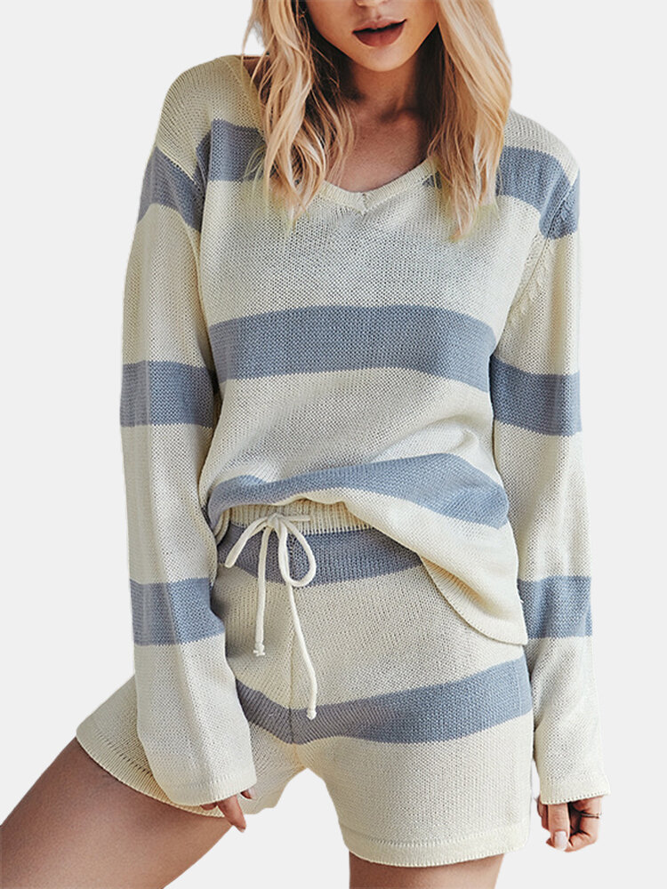 Striped Print Long Sleeves V-neck Knitted Clothing Set For Women