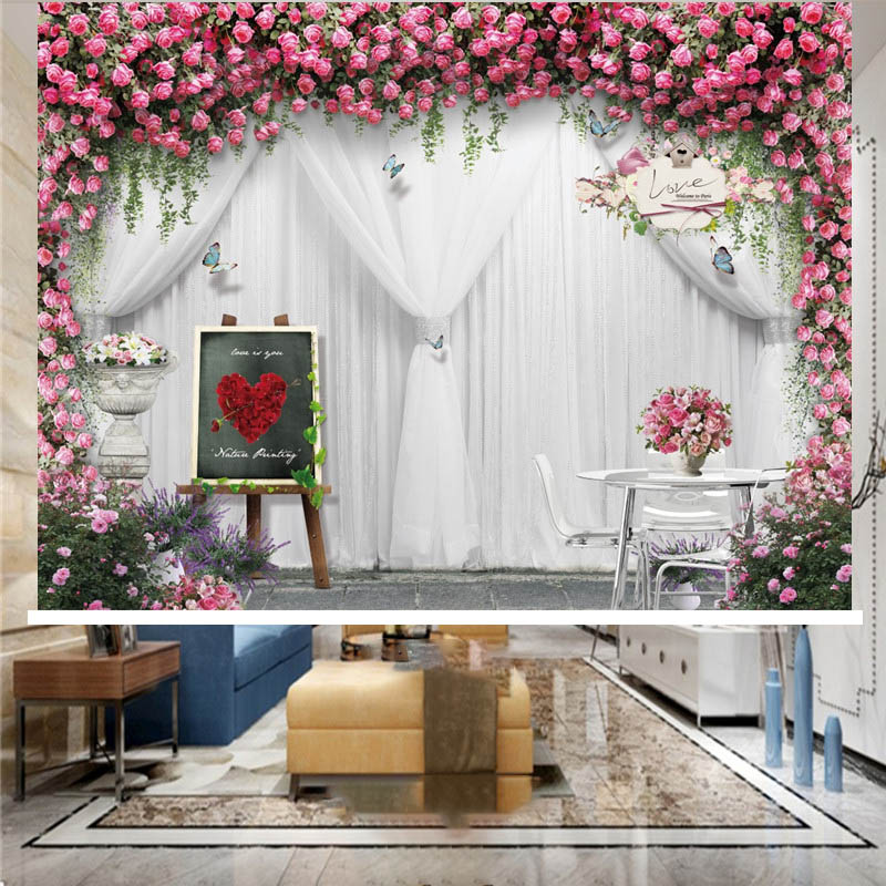 3D Modern Romantic Floral Print Blackout Roller Shades with White Sheer and Pink Flower Design