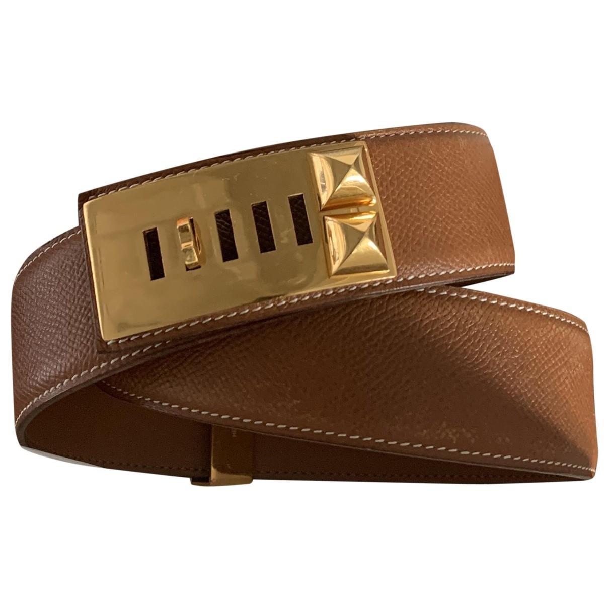 Hermès Collier de chien Camel Leather belt for Women 75 cm