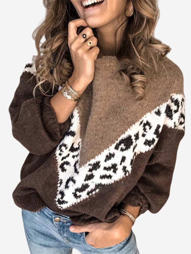 Chic Patch Leopard Long Sleeve Crew Neck Knit Sweater