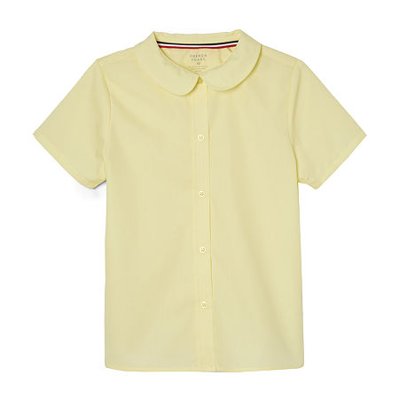 French Toast Little & Big Girls Short Sleeve Button-Down Shirt, 14.5 Plus , Yellow