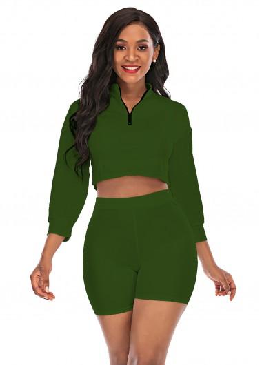 Quarter Zip Top and High Waist Shorts - XL