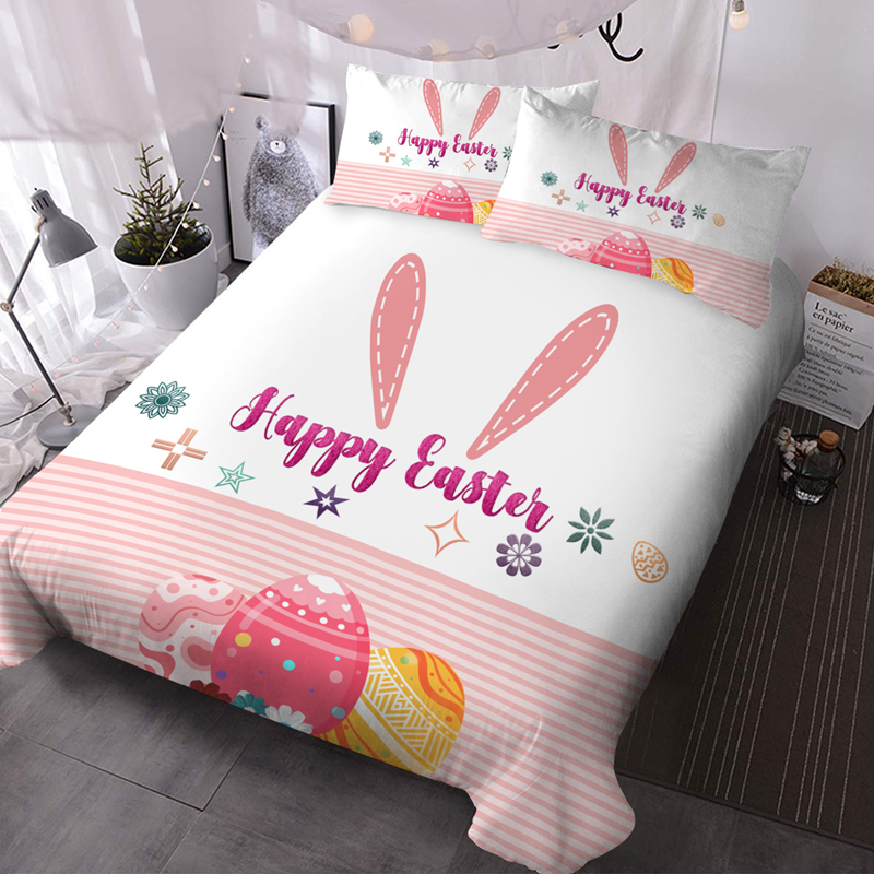 Pink Easter 3Pcs Microfiber Wrinkle/Fade Resistant Comforter Set 3D Animal Comforter Insert with 2 Pillow Covers
