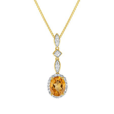 Womens Genuine Yellow Citrine 14K Gold Over Silver Pendant Necklace, One Size , No Color Family