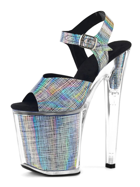 Milanoo High Heel Sexy Sandals Black Silver PU Leather Peep Toe Ankle Strap Platform Sexy Sandals