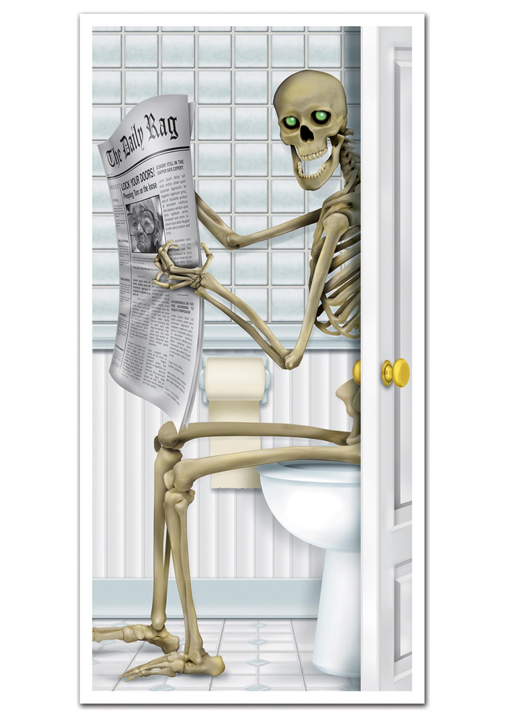 Toilet Halloween Decor Skeleton Door Cover
