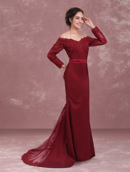 Milanoo Burgundy Evening Dresses Off The Shoulder Mother Of The Bride Dress Lace Beaded Sash Long Sleeve Wedding Party Dress With Train