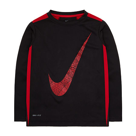 Nike Little & Big Boys Long Sleeve T-Shirt, 7 , Red