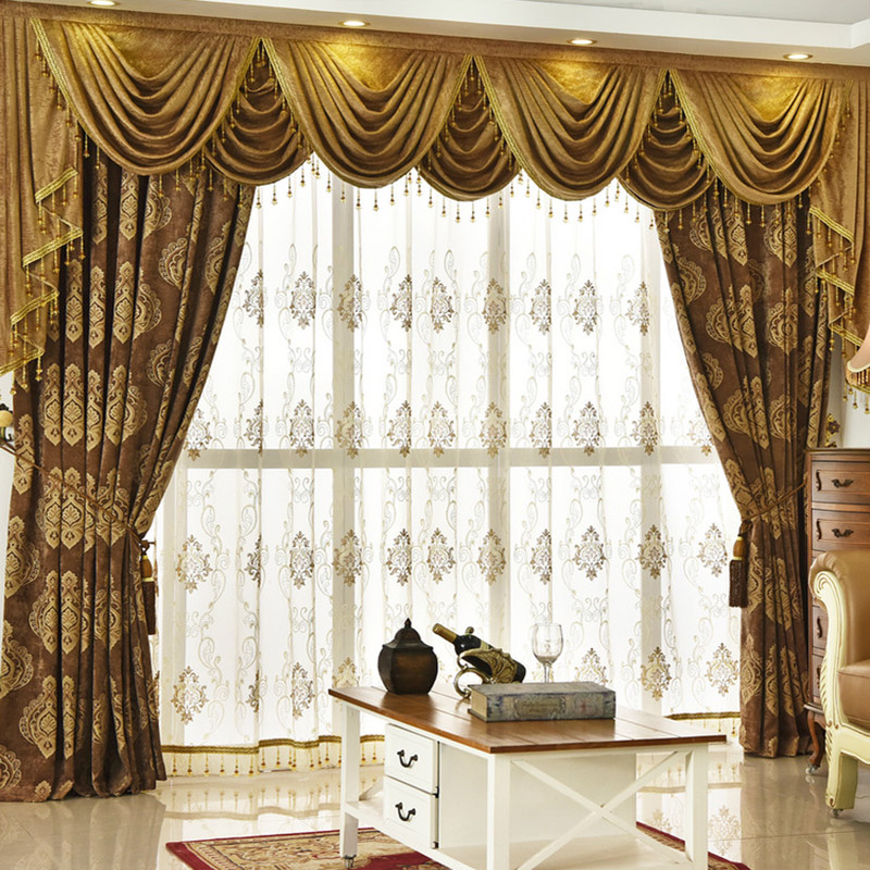 Luxurious and Delicate Embroidery Decorative Net Sheer Custom Window Curtains with Fancy and Durable Chiffon Material 30%Shading Rate for Good Ultravi