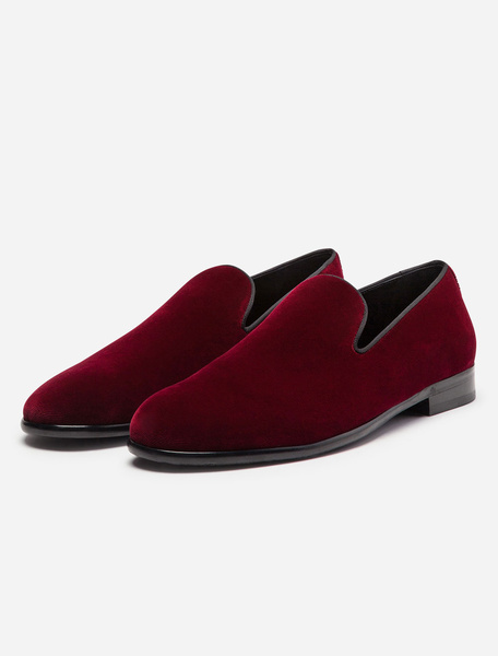 Milanoo Mens Red Loafers Shoes Velvet Round Toe Slip On Flat Shoes