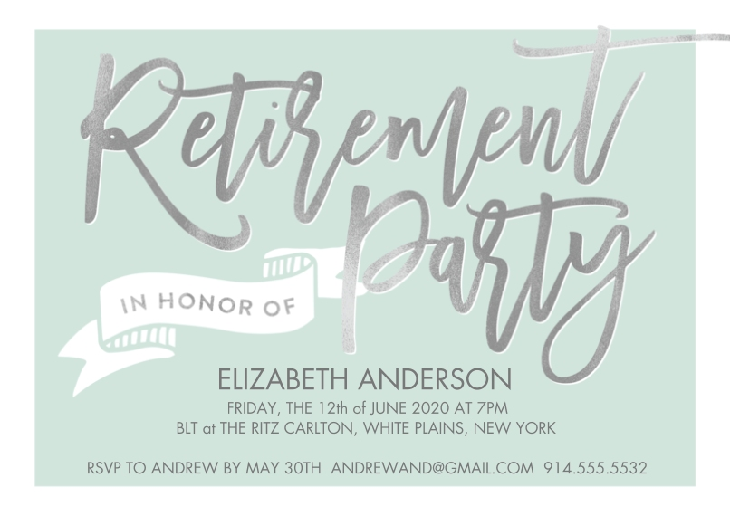 Retirement Cards 5x7 Cards, Premium Cardstock 120lb with Scalloped Corners, Card & Stationery -Retirement Party Banner