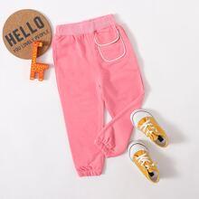 Toddler Girls Solid Flap Pocket Sweatpants