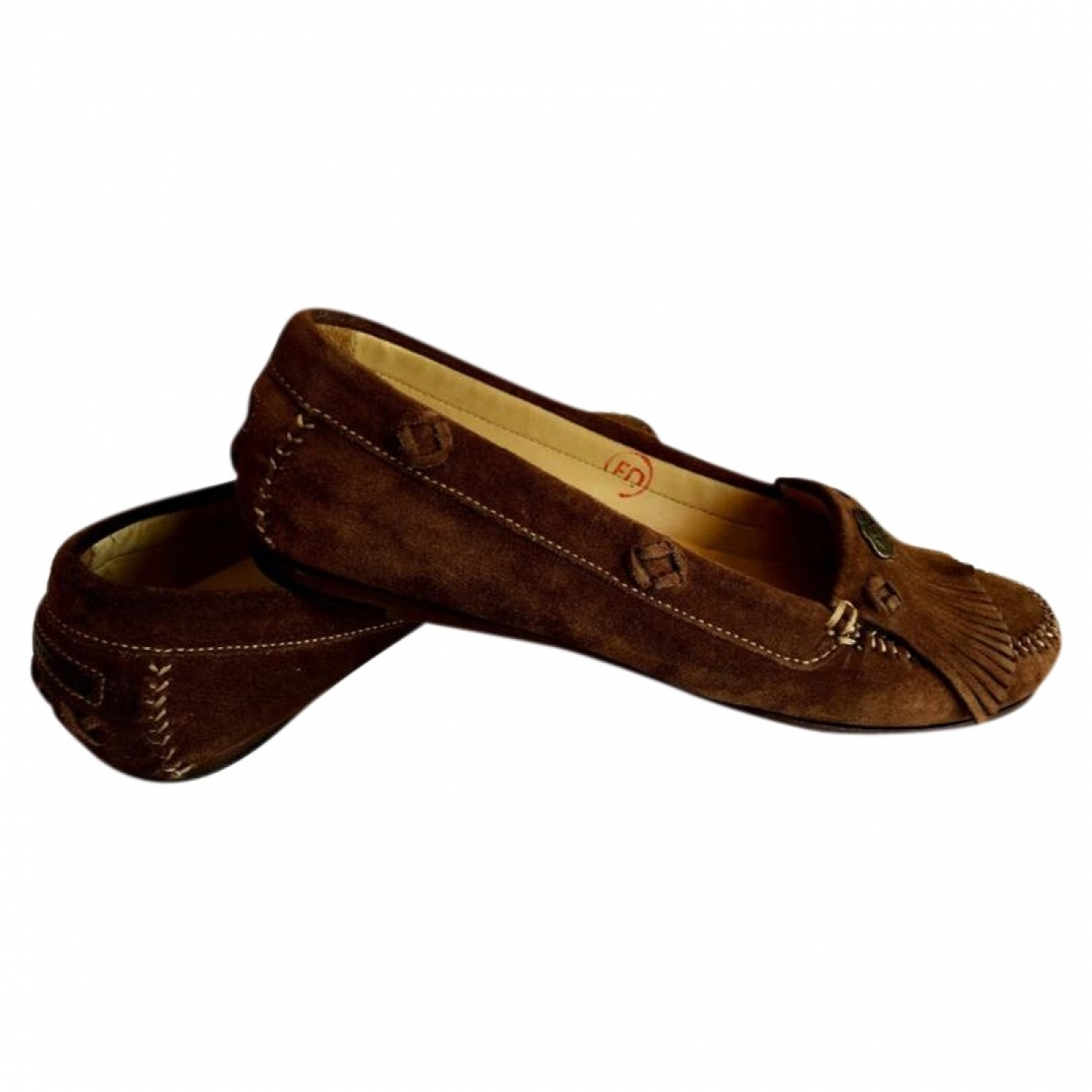 Non Signé / Unsigned Hippie Chic Brown Suede Flats for Women 37 EU