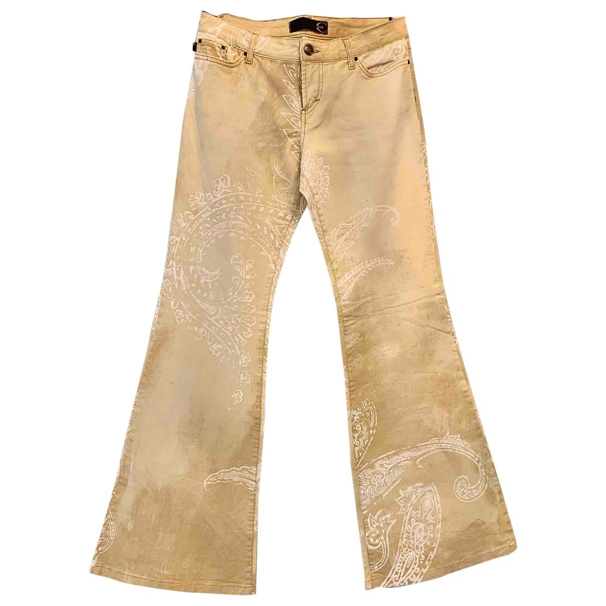 Just Cavalli \N Ecru Cotton Trousers for Women M International