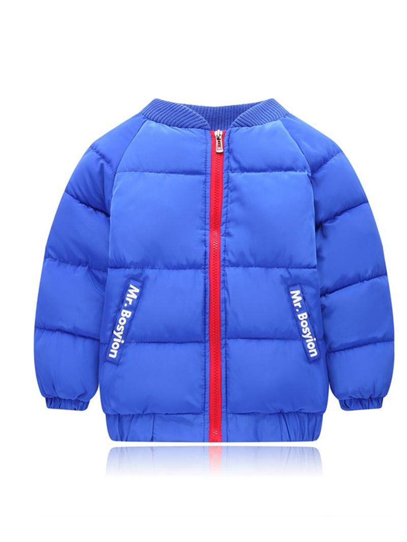 Ericdress Thick Warm Stand Collar Zipper Boys Cotton Coat