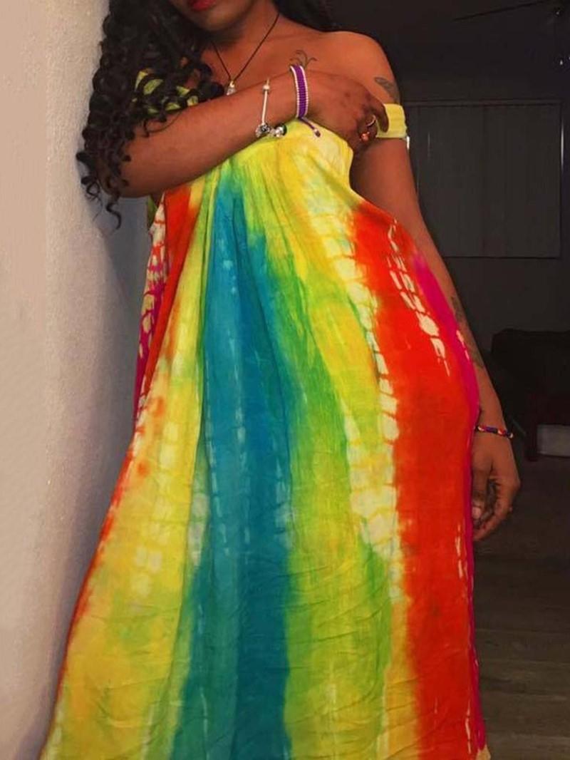 Ericdress Short Sleeve Off Shoulder Tie-Dye High Waist Fashion Dress