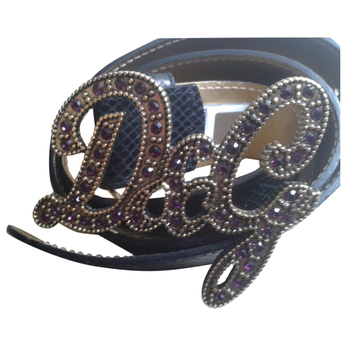 D&g \N Black Leather belt for Women 85 cm
