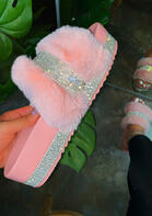 Rhinestone Fur Slip On Platform Slippers