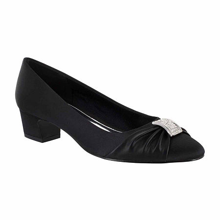 Easy Street Womens Eloise Pumps Block Heel, 8 1/2 Wide, Black