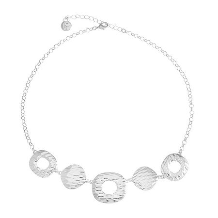 Liz Claiborne 17 Inch Cable Square Collar Necklace, One Size , Silver