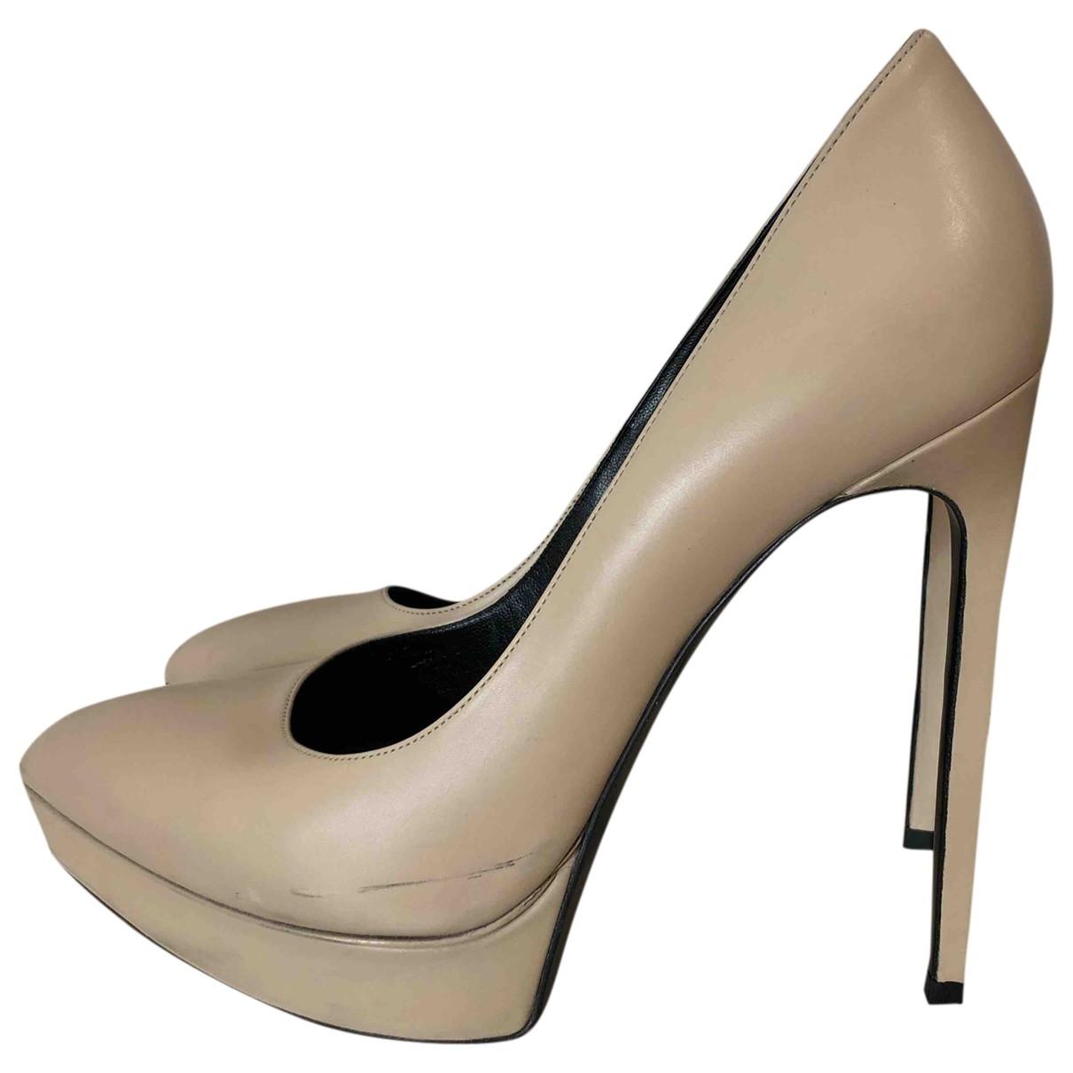 Saint Laurent \N Beige Leather Heels for Women 38.5 EU