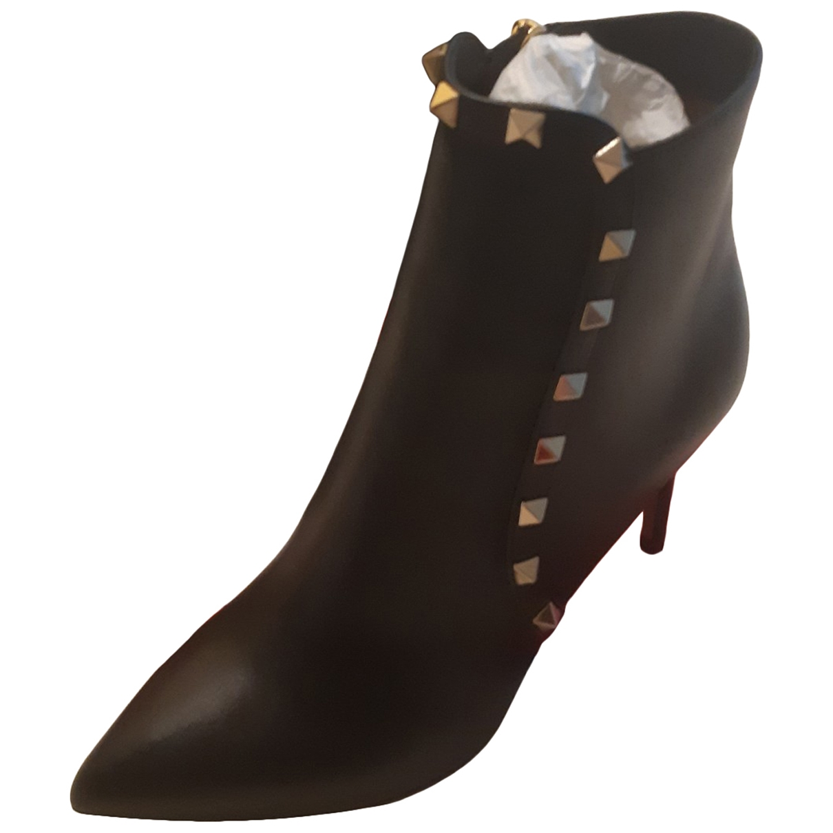 Valentino Garavani Rockstud Black Leather Ankle boots for Women 37 EU