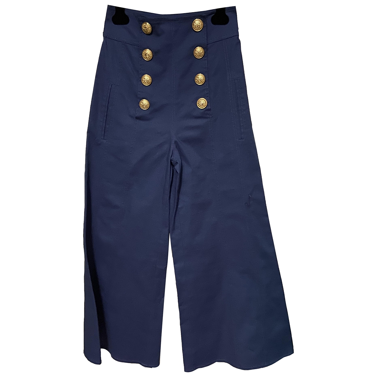 Balmain \N Navy Cotton Trousers for Women 36 FR