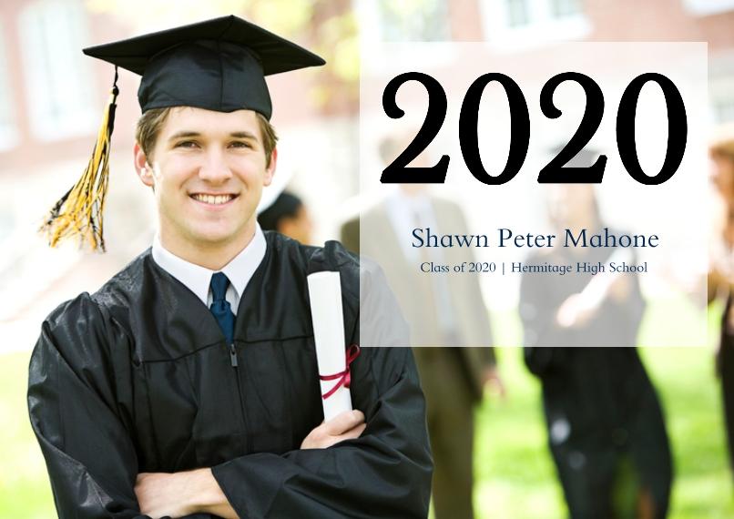 Graduation Set of 20, Premium 5x7 Foil Card, Card & Stationery -Woodgrain Grad Year