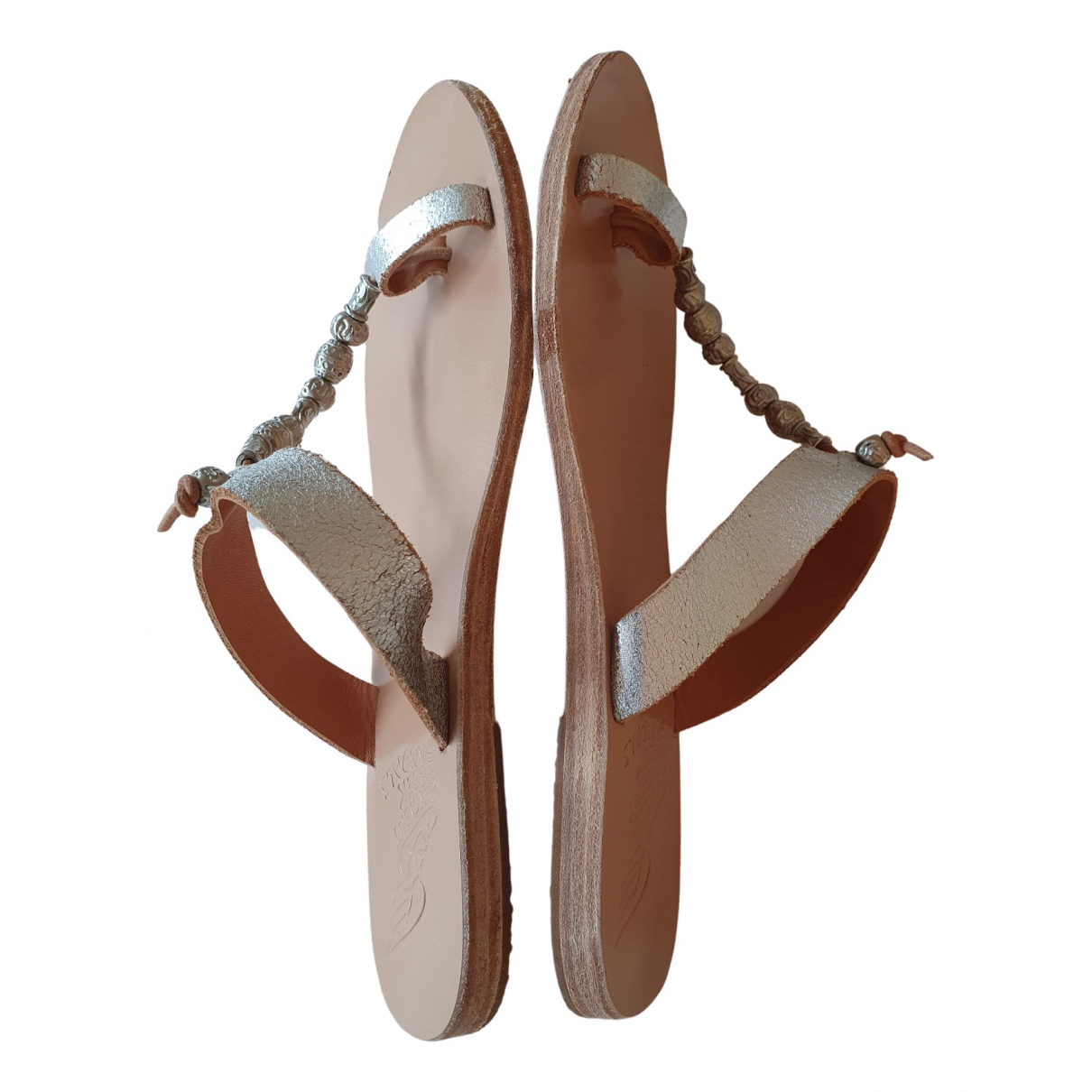 Ancient Greek Sandals \N Metallic Leather Sandals for Women 37 EU