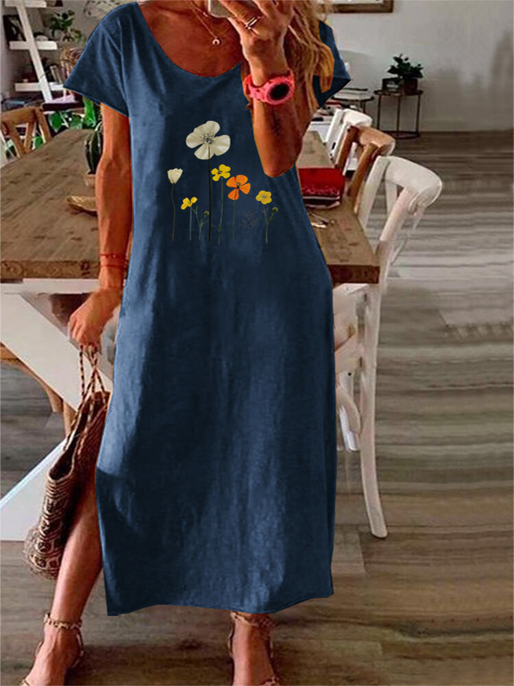 Casual Flowers Print Short Sleeve Plus Size Split Dress