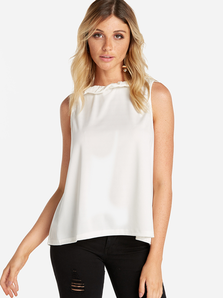 Yoins White Self-tie Design Sleeveless Top