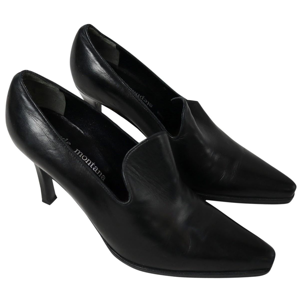Claude Montana \N Black Leather Heels for Women 5.5 UK