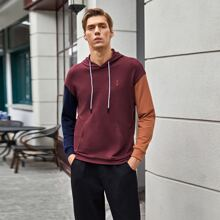 Men Anchor Embroidery Colorblock Hoodie