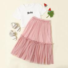 Girls Letter Graphic Tee and Frill Trim Dobby Mesh Skirt Set