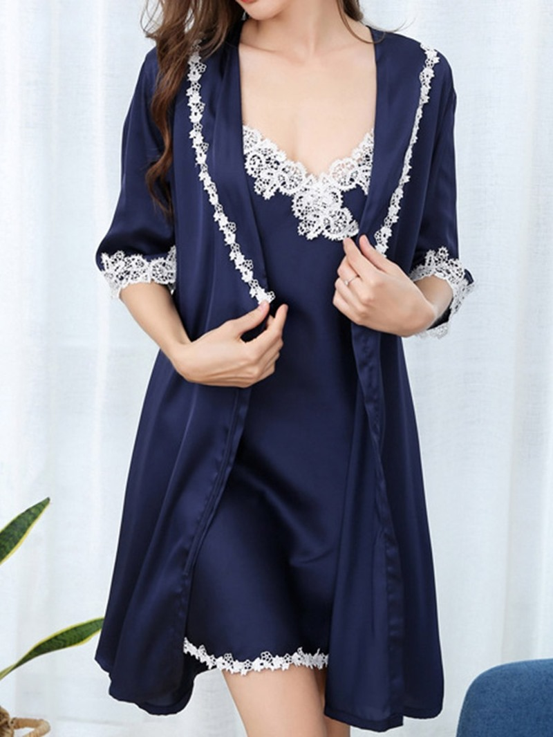 Ericdress Color Block Lace Sexy Robe Sleeveless Pajama Suit