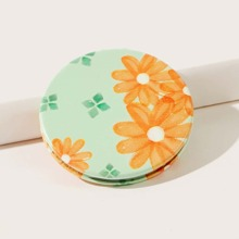 1pc Flower Print Portable Mirror
