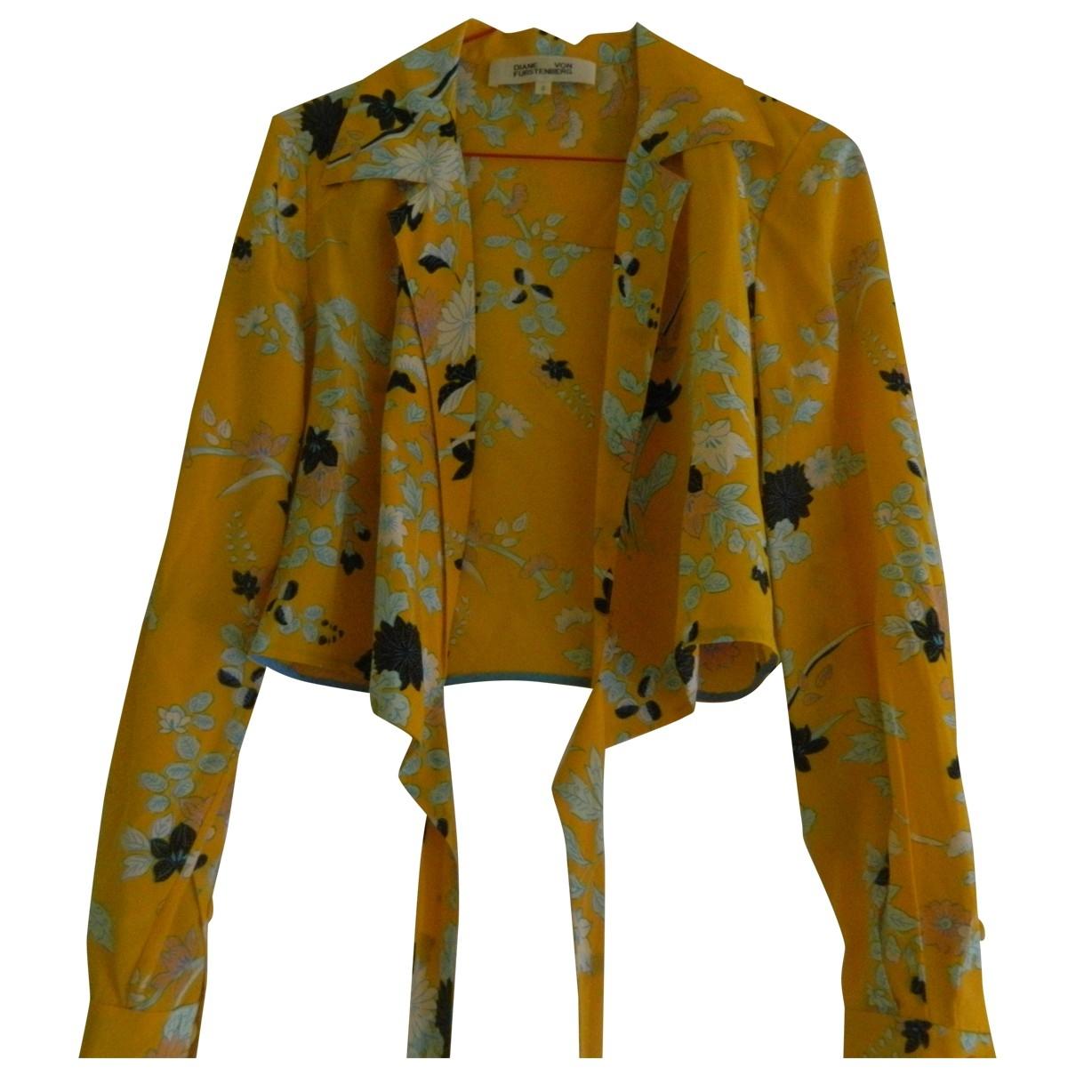 Diane Von Furstenberg \N Yellow Silk  top for Women XXS International