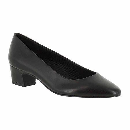 Easy Street Womens Prim Pumps Block Heel, 7 Wide, Black