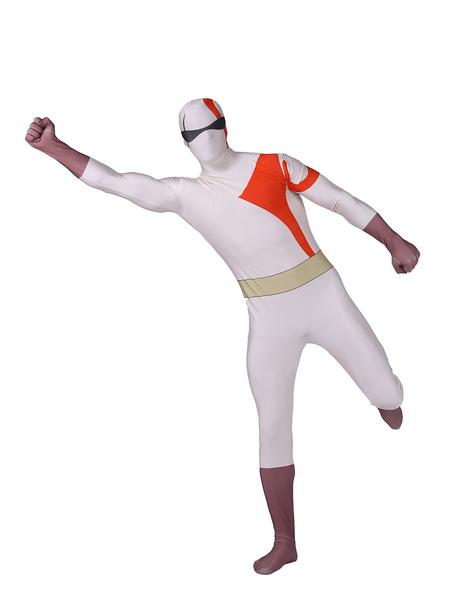 Milanoo Morph Suit White Kratos Zentai Suit Full Body Lycra Spandex Bodysuit