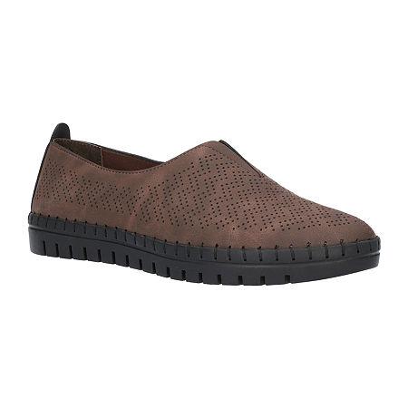 Easy Street Womens Jory Slip-On Shoe, 8 1/2 Extra Wide, Brown