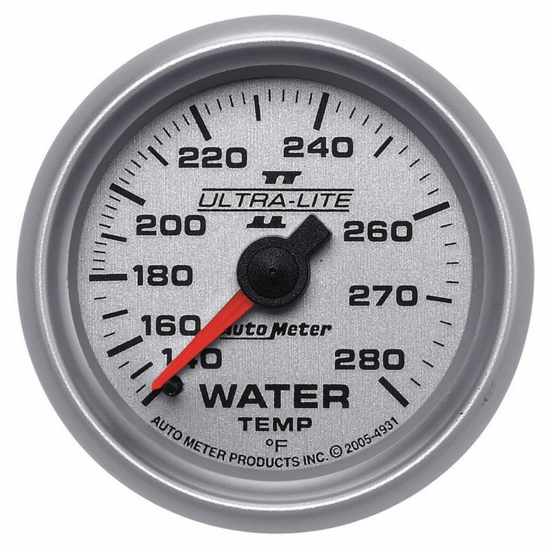 AutoMeter GAUGE; WATER TEMP; 2 1/16in.; 140-280deg.F; MECHANICAL; ULTRA-LITE II