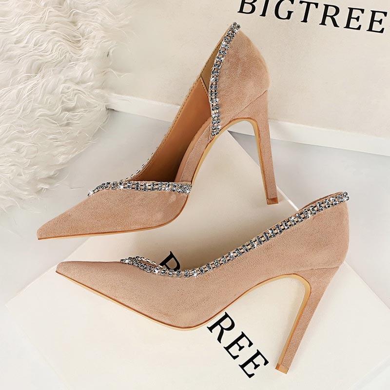 Ericdress Stiletto Heel Pointed Toe Slip-On Low-Cut Upper Pumps