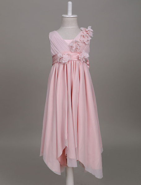 Milanoo Flower Girl Dresses Blush Pink Boho V Neck Pleated Ruffles Kids Party Wear Dress