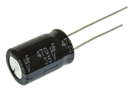 Panasonic 470μF Electrolytic Capacitor 35V dc, Through Hole - EEUFR1V471 (200)
