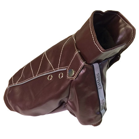 The Pet Life Wuff-Rider Fashion Suede Stitched Pet Coat, One Size , Brown