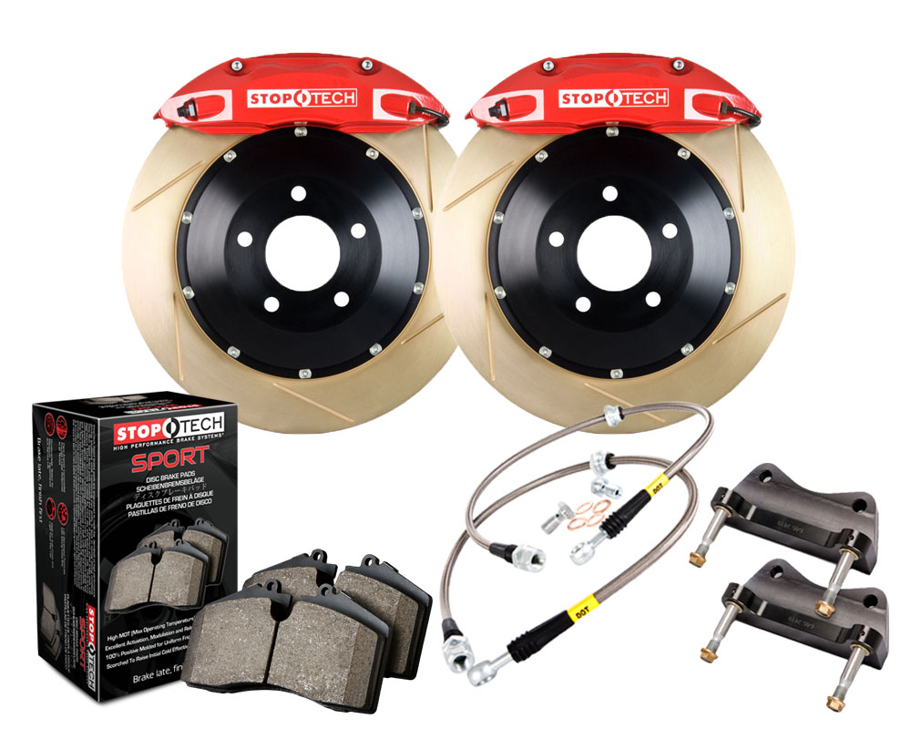 StopTech 83.434.4300.73 Big Brake Kit; Black Caliper; Slotted Two-Piece Rotor; Front Honda Civic Front 2006-2011 2.0L 4-Cyl